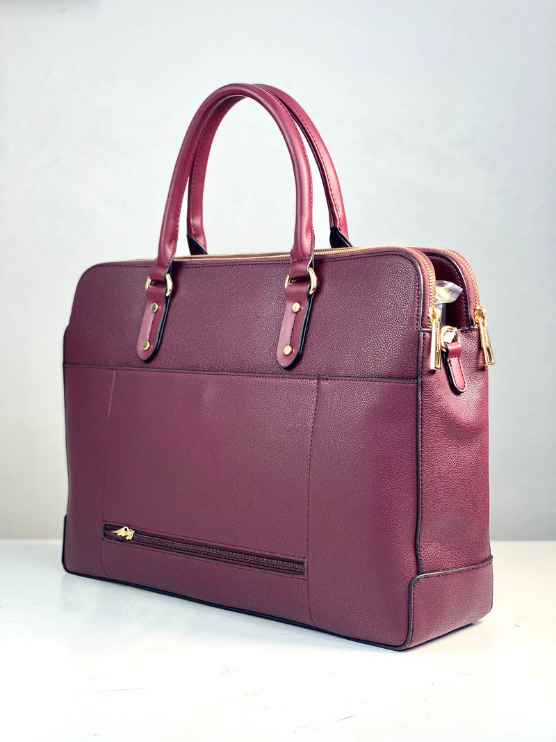 CHRIS BELLA BURGUNDY LAPTOP PIN-DOWN FLAP BAG