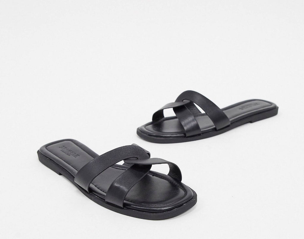 TRUFFLE COLLECTION SQUARE TOE FLAT SLIDES