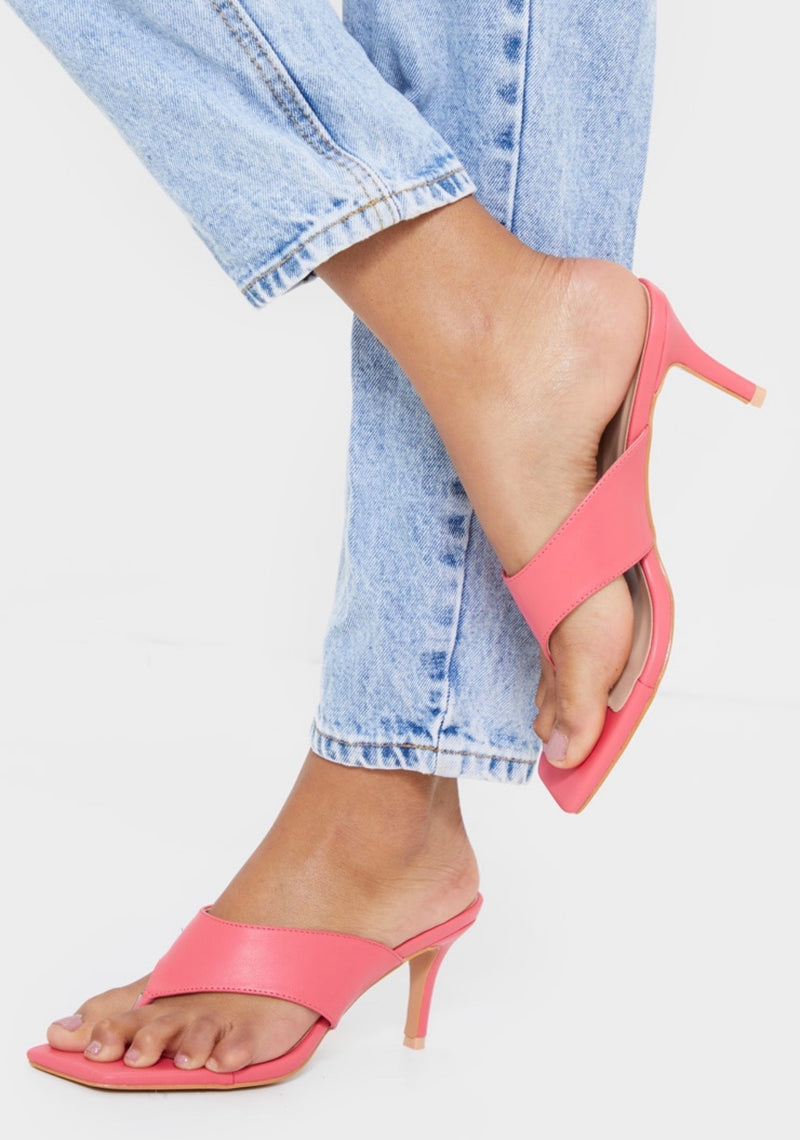 PRETTY LITTLE THING PINK SQUARE TOE THONG MULE 39
