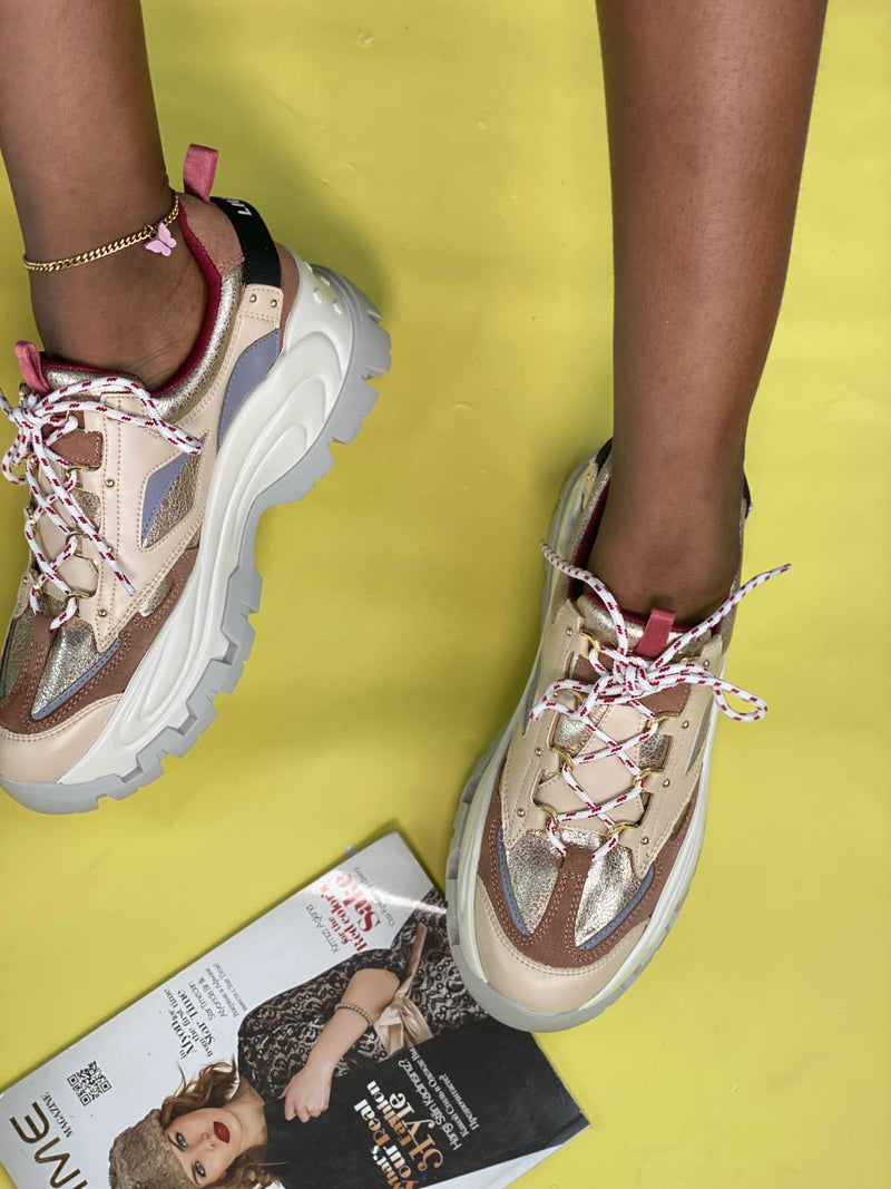 LUIJO NUDE MULTI CHUNKY SOLE SNEAKERS
