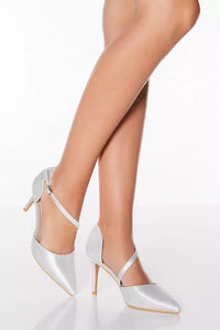 CHIC SILVER GLITTER ASYMMETRCAL POINT TOE COURT SHOES