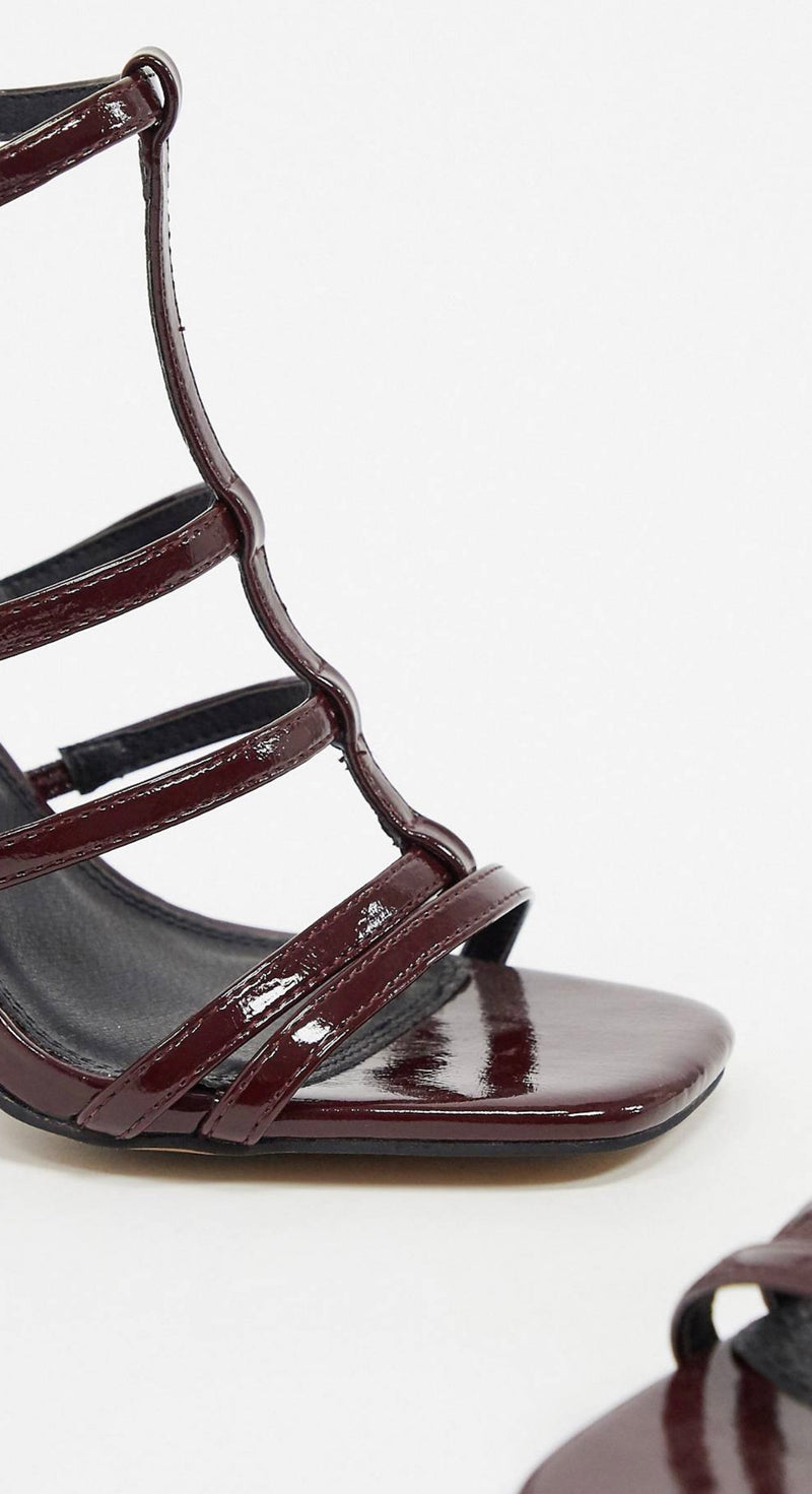 ASOS DESIGN NOBEL CAGED BLOCK HEELED SANDALS IN WINE