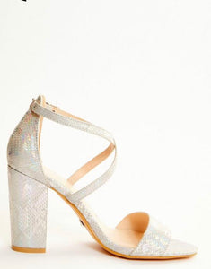 QUIZ GREY SNAKE PRINT BLOCK HEEL