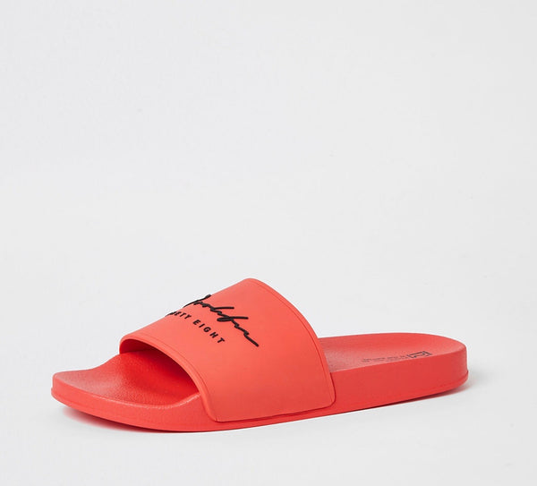 RIVER ISLAND PROLIFIC ORANGE EMBOSSED SLIDERS