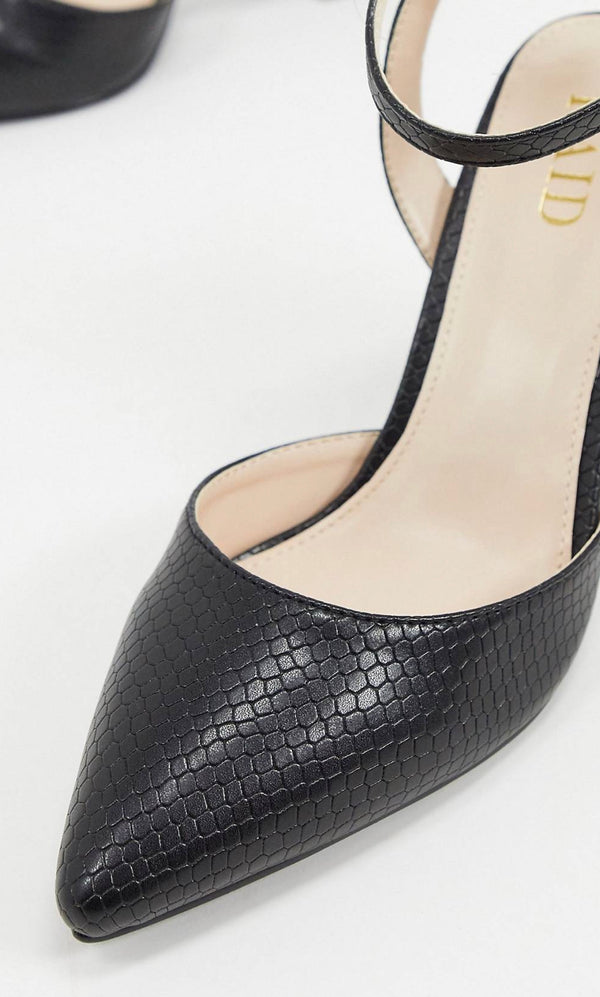 RAID EXCLUSIVE NEIMA BLOCK HEELED SHOES IN BLACK SNAKE