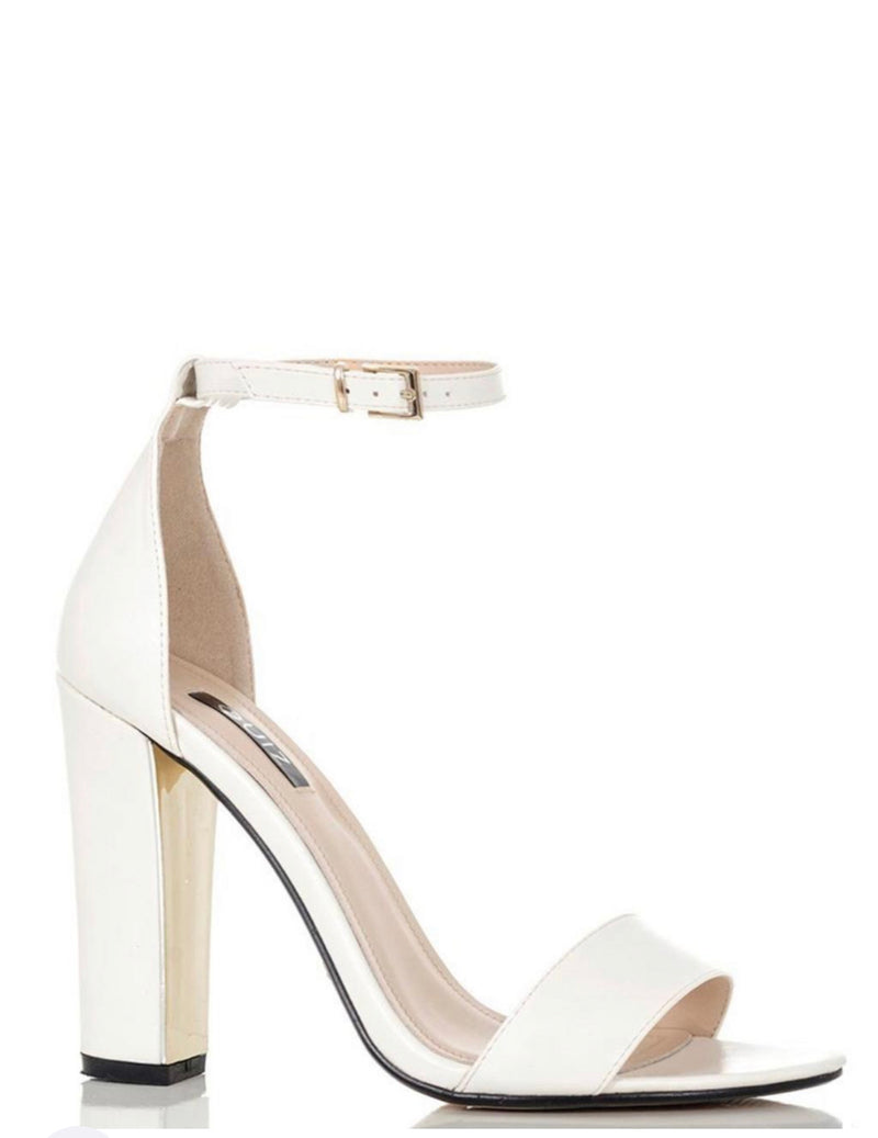 QUIZ WHITE AND GOLD PLATED STRAPPY SANDALS