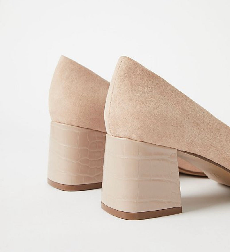 GEORGE BEIGE MOCK CROC BLOCK HEEL COURT SHOES