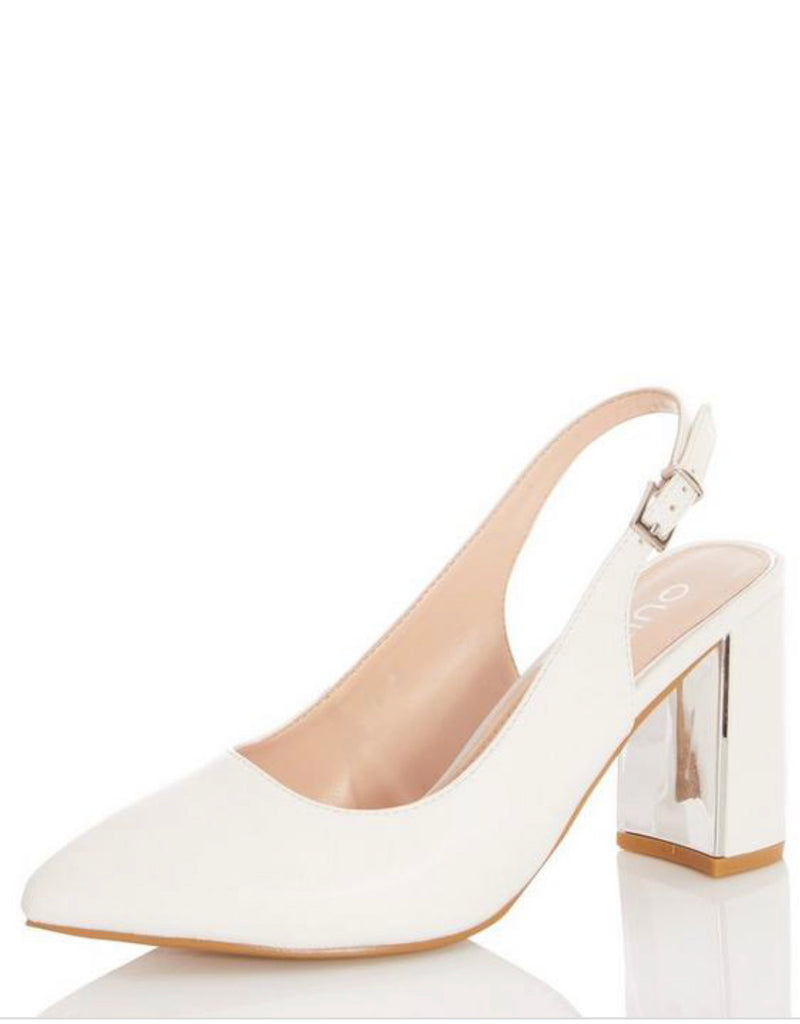 QUIZ WIDEFIT WHITE FAUX LEATHER SLINGBACK COURTS