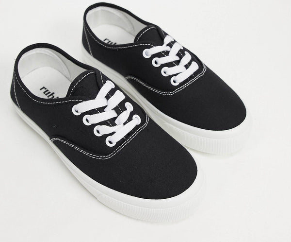 RUBI JAMIE LACE UP PLIMSOLLS IN BLACK