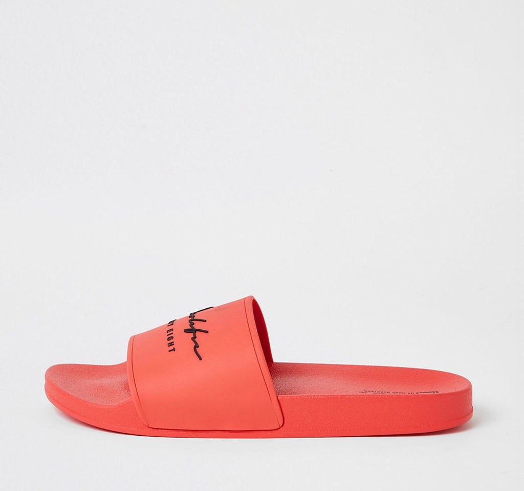 RIVER ISLAND PROLIFIC ORANGE EMBOSSED SLIDERS 44