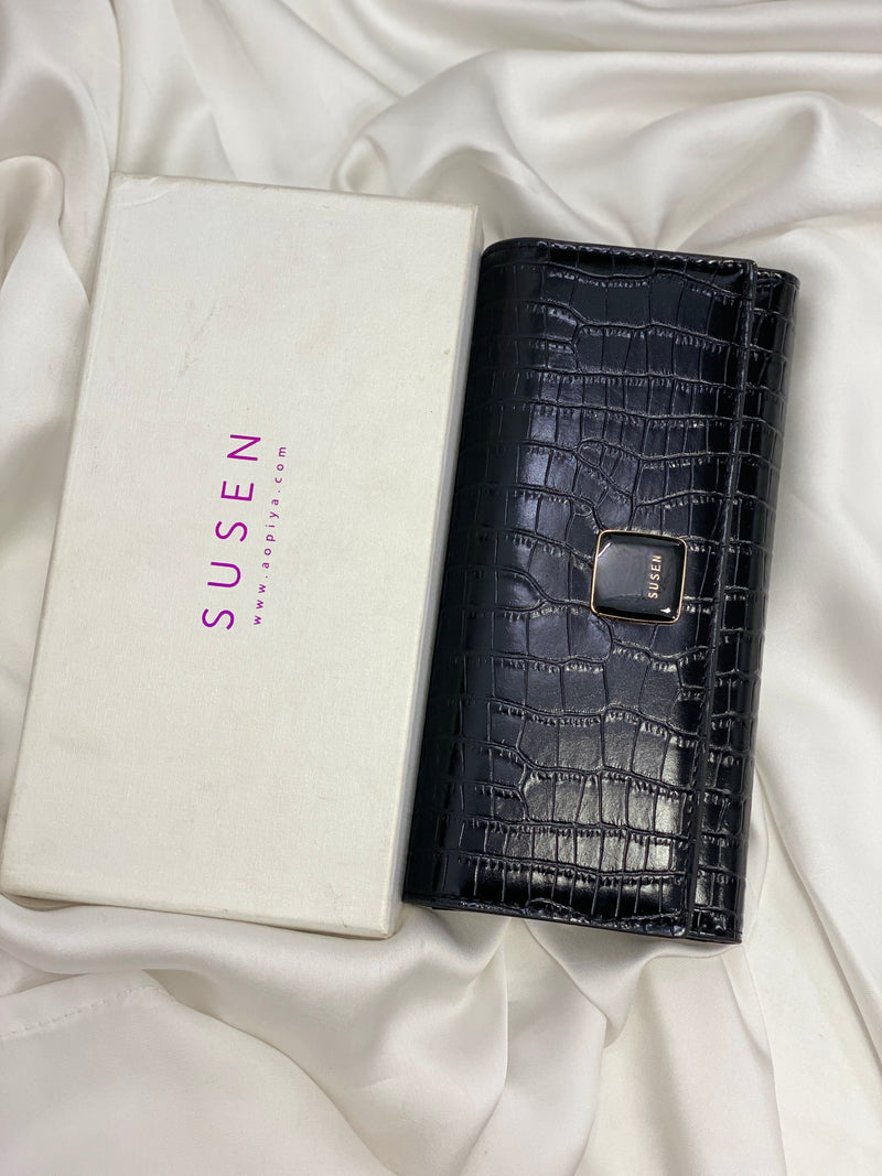 SUSEN BLACK EMBOSSED FOLDABLE LEATHER WALLET