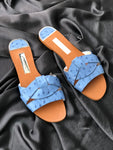 ZARA BLUE TWIST UPPER FLAT SLIDER
