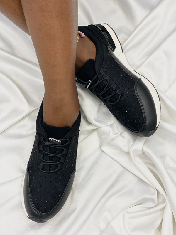 FOOTFLEX BLACK EMBELLISHED SNEAKERS