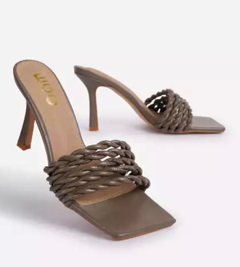 EGO SPLASHY WOVEN ROPE DETAIL SQUARE PEEP TOE KITTEN HEEL MULE KHAKI GREEN FAUX LEATHER