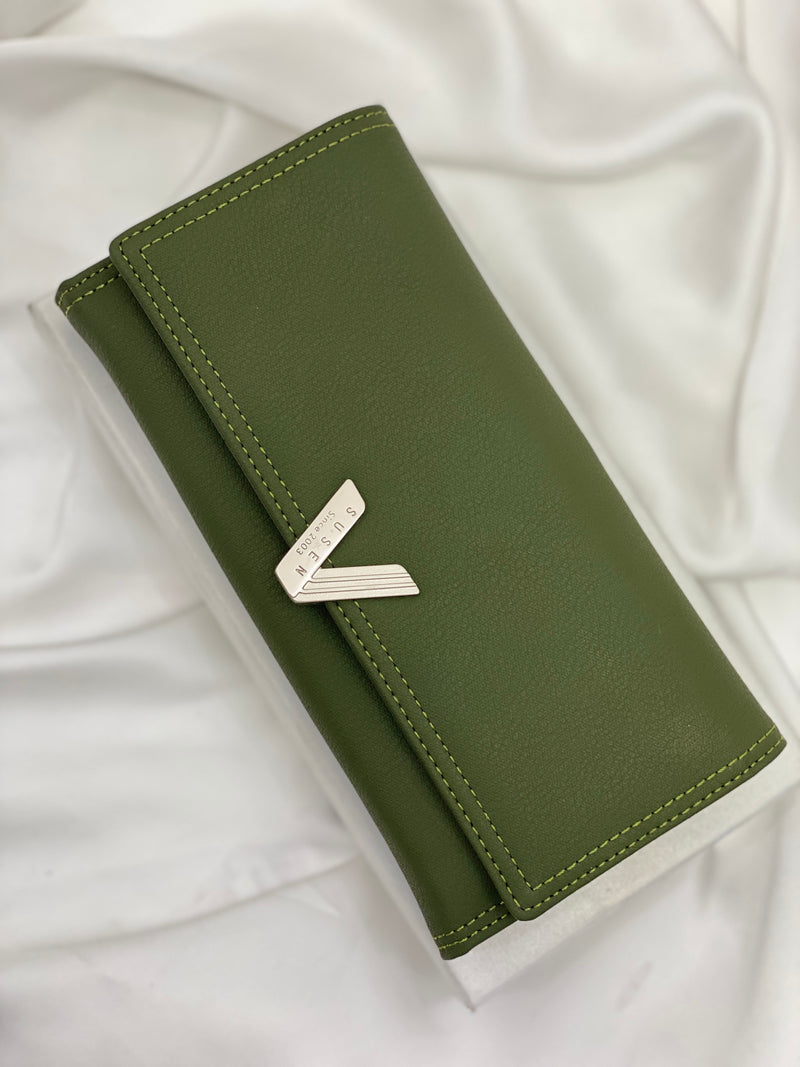 SUSEN ARMY GREEN MATTE V DETAIL WALLET