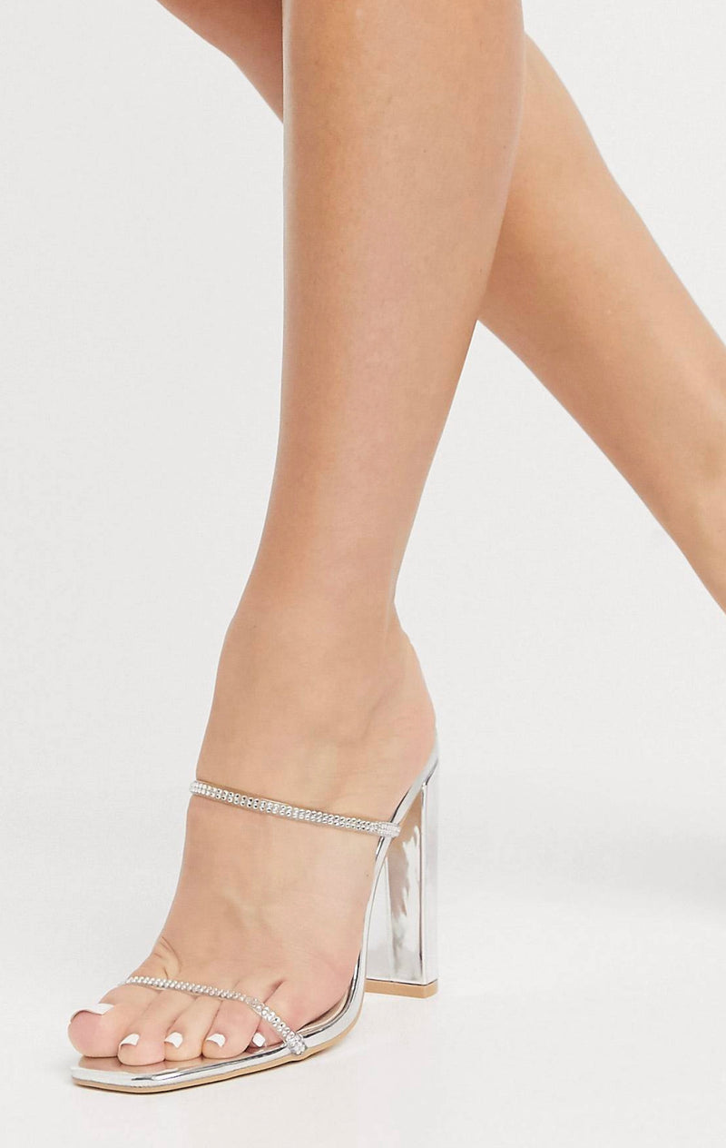 GLAMOROUS DIAMANTE DETAIL MULES WITH SQUARE TOE IN SILVER MIRROR