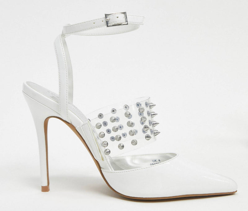ASOS DESIGN PUNK STUDDED STILETTO HEELS IN WHITE AND CLEAR