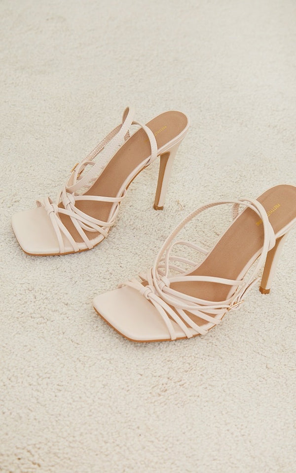 PRETTY LITTLE THING CREAM SQUARE KNOTTED MULTI STRAP HIGH HEELED SANDALS