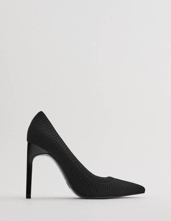 ZARA BLACK HIGH-HEEL SHOES WITH ELASTIC DETAIL