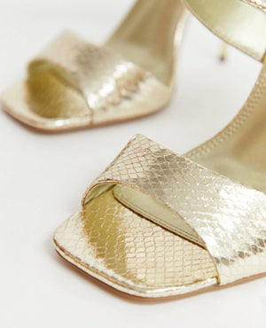 ASOS WEAVE BARELY THERE HEELED SANDALS IN GOLD