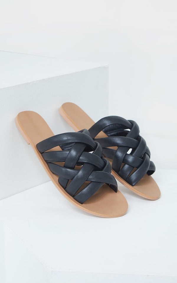 PRETTY LITTLE THING BLACK WOVEN DEATAIL REAL LEATHER MULE FLAT SANDALS