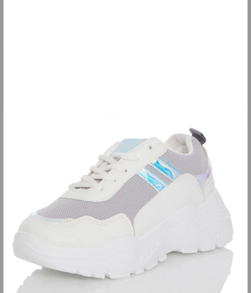 MARQUIZ GREY LACE UP CHUNKY TRAINERS