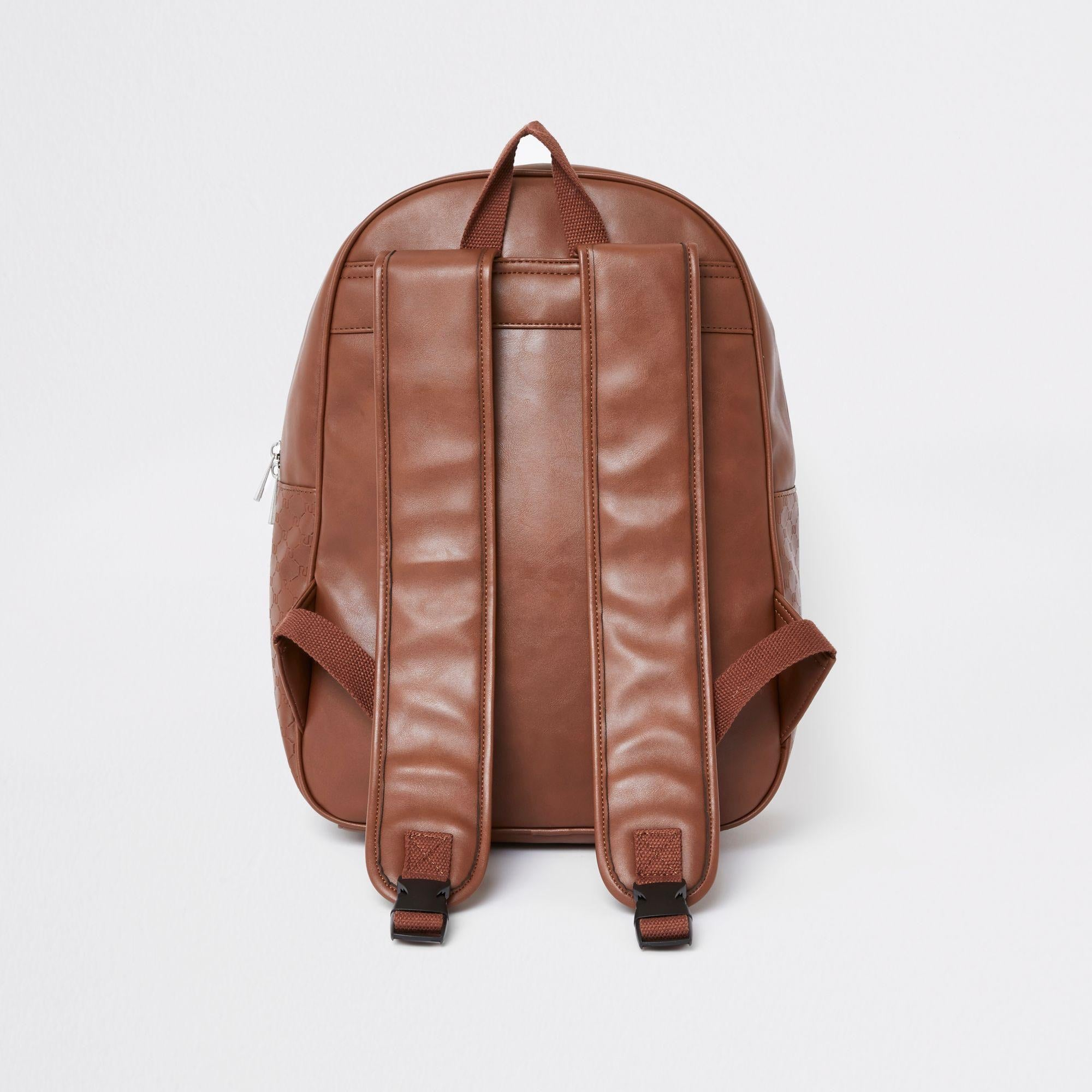 RIVER ISLAND MONOGRAM TRIM BACKPACK