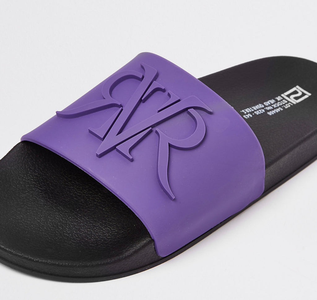 RIVER ISLAND PURPLE EMBOSSED RVR SLIDERS 44