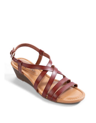 NEW DIRECTION BROWN SCARLET MULTISTRAP WEDGE SANDALS