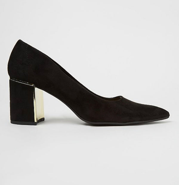 GEORGE BLACK SUEDE EFFECT METALLIC TRIM HEELED COURT SHOES
