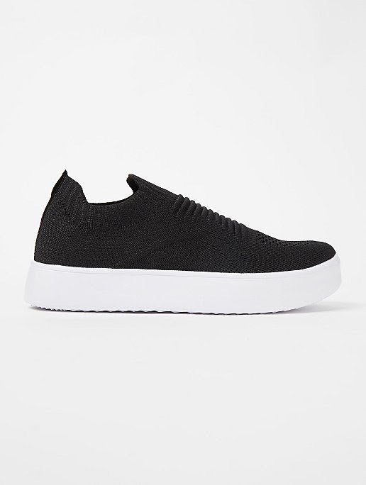 GEORGE BLACK KNITTED SLIP ON SPORTS TRAINERS