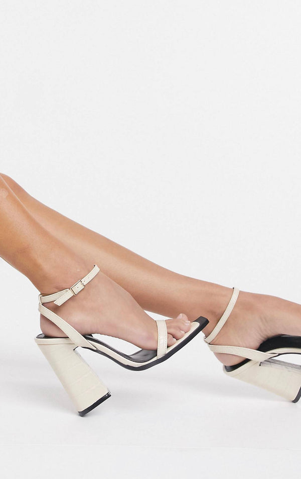 RAID ROGUE SQUARE TOE HEELED SANDALS IN BONE