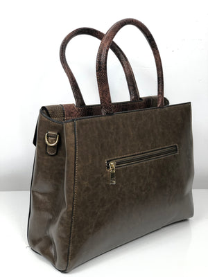 DON JONES OLIVE STRUCTURED KNOB DOUBLE V-FLAP BAG