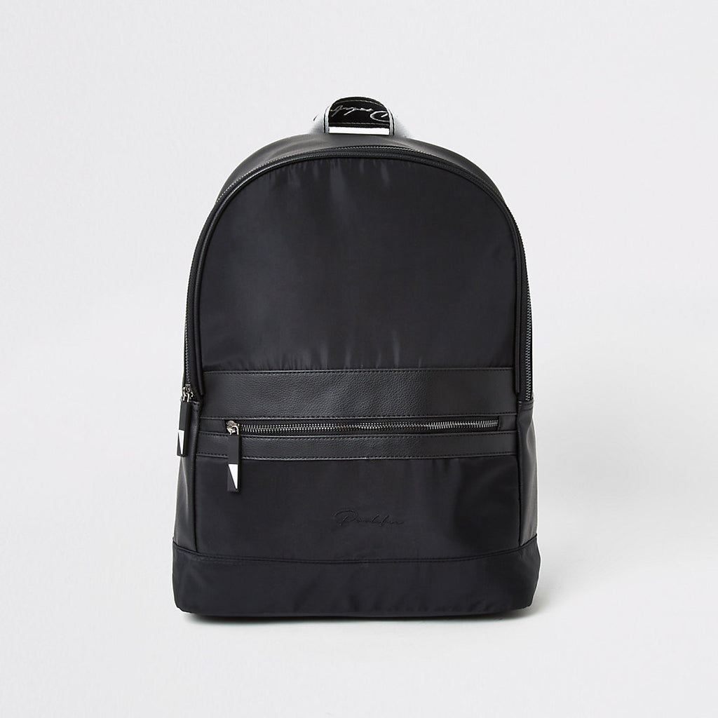 RIVER ISLAND PROLIFIC BLACK TAPE ZIP FRONT BACKPACK