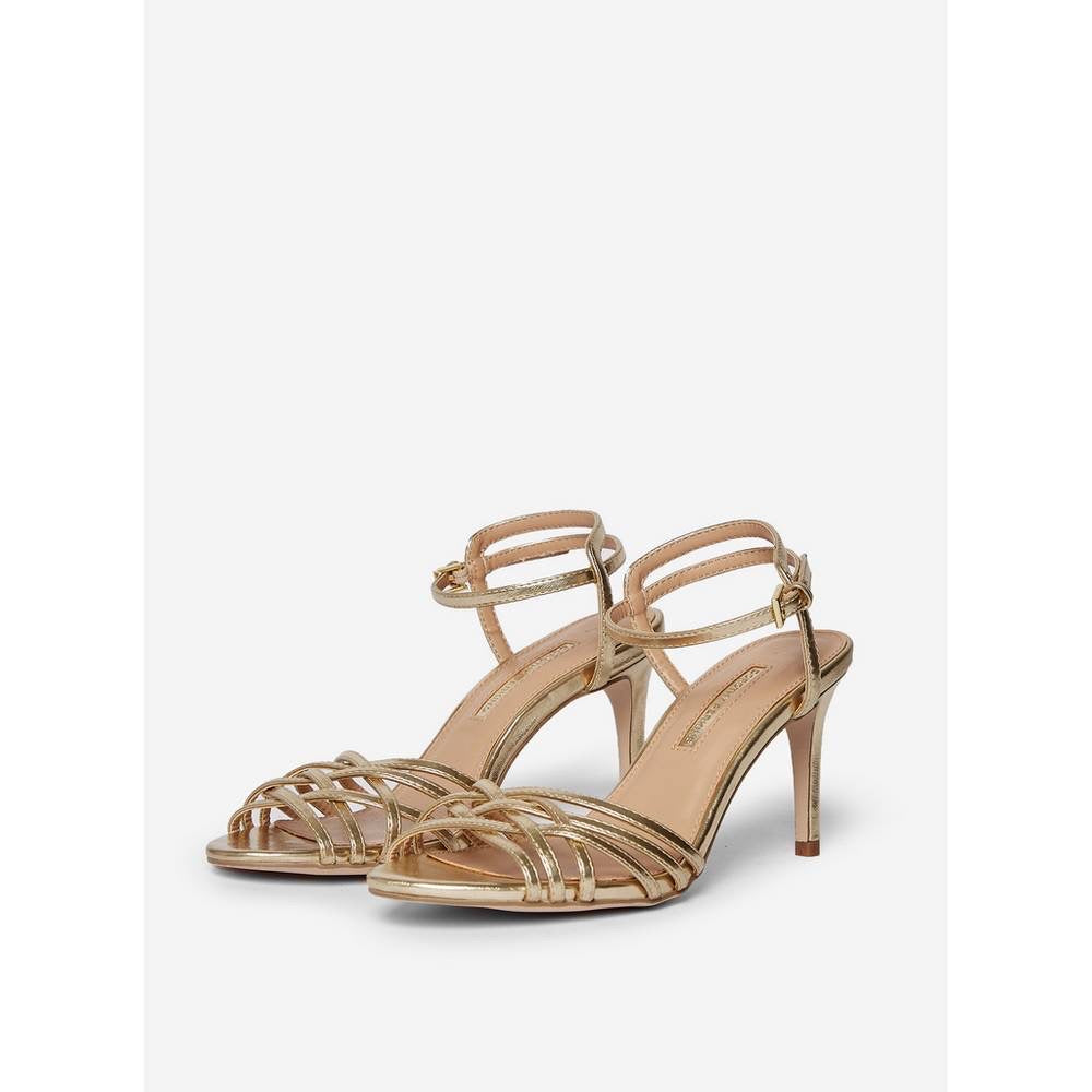 DOROTHY PERKINS GOLD LEATHER LOOK MULTI STRAP STILETTO SANDALS