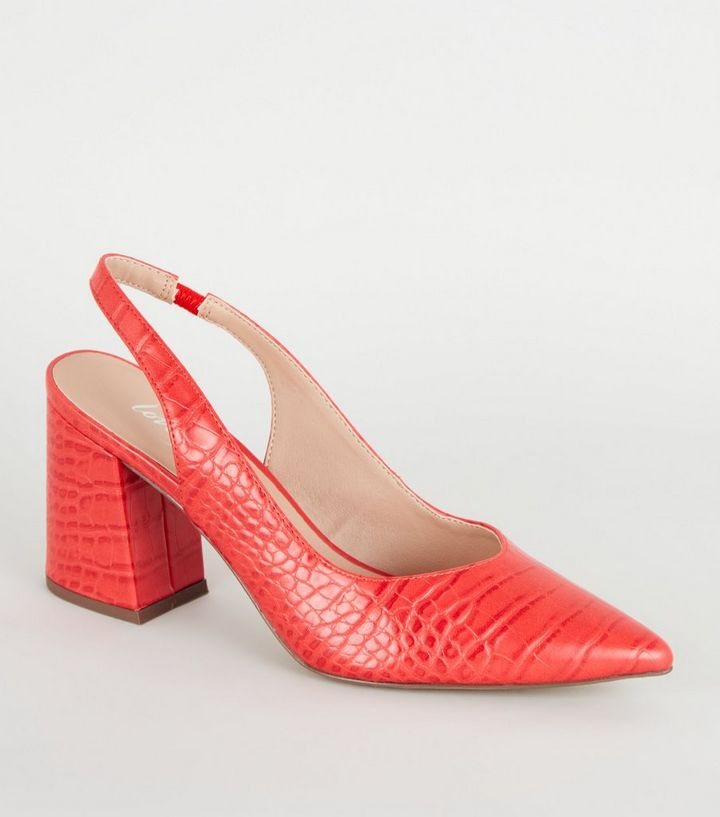 NEW LOOK RED SLINGBACK BLOCK HEELS 38