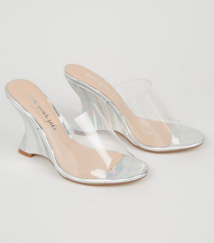 NEW LOOK SILVER METALLIC CLEAR STRAP WEDGE MULES