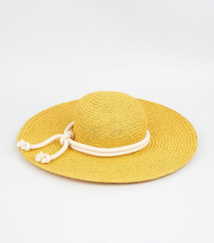 NEW LOOK STRAW EFFECT ROPE TRIM HAT
