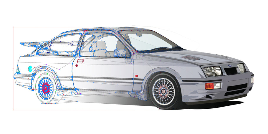 How many clicks to artwork the Sierra Cosworth