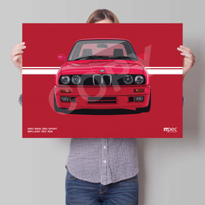 Landscape Print of 1990 BMW E30 325i Sport in Brilliant Red 308