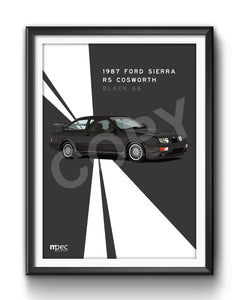 Print of 1987 Ford Sierra RS Cosworth in Black A6 - Lines