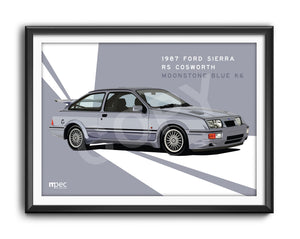 Landscape Illustration 1987 Ford Sierra RS Cosworth Moonstone Blue K6 - Lines