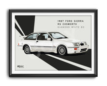 Load image into Gallery viewer, Landscape Illustration 1987 Ford Sierra RS Cosworth Diamond White B3 - Lines