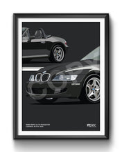 Load image into Gallery viewer, Print of 1998 BMW Z3 M Roadster in Cosmos Black 303 - Double