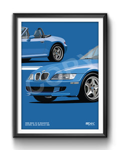 Print of 1998 BMW Z3 M Roadster in Estoril Blue Metallic 335 - Close Ups