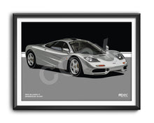 Load image into Gallery viewer, Landscape Print of 1993 McLaren F1 in Magnesium Silver - Lines
