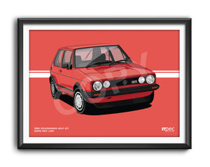Landscape Print of 1983 Volkswagen Golf GTI in Mars Red LA3A