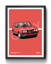 Load image into Gallery viewer, Print of 1983 Volkswagen Golf GTI in Mars Red LA3A