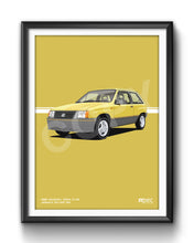 Load image into Gallery viewer, Print of 1986 Vauxhall Nova 1.3 SR in Jamaica Yellow 59L