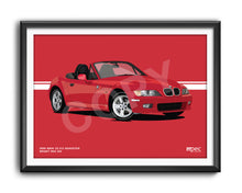 Load image into Gallery viewer, Landscape Illustration 1999 BMW Z3 2.0 Roadster Bright Red 314